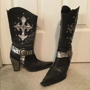 Extremely rare western New Rock Metal Boots 38 8